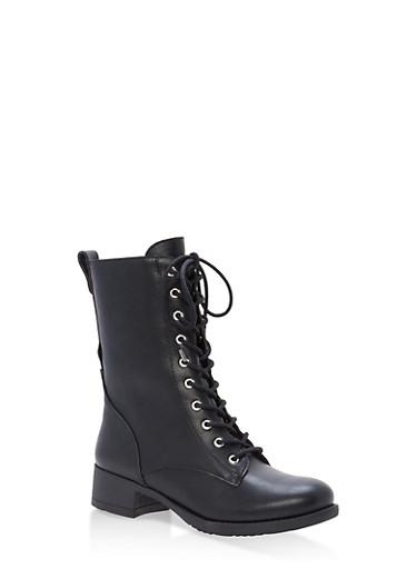 Lace Up Combat Boots,BLACK,large