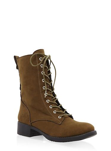 Lace Up Combat Boots,OLIVE,large