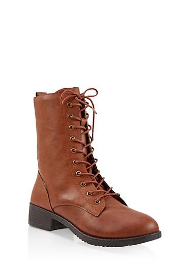 Lace Up Combat Boots,COGNAC,large