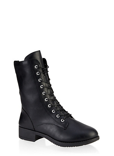Lace Up Zip Combat Boots,BLACK,large
