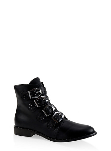Buckle Strap Studded Booties,BLACK,large