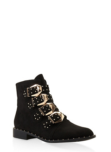 Buckle Strap Studded Booties,BLACK SUEDE,large
