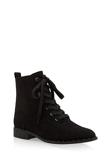 Lace Up Studded Ankle Booties,BLACK SUEDE,large