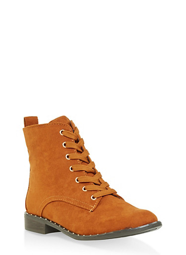 Lace Up Studded Ankle Booties,CHESTNUT,large
