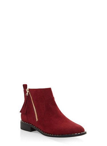 Studded Sole Zip Up Booties,WINE,large