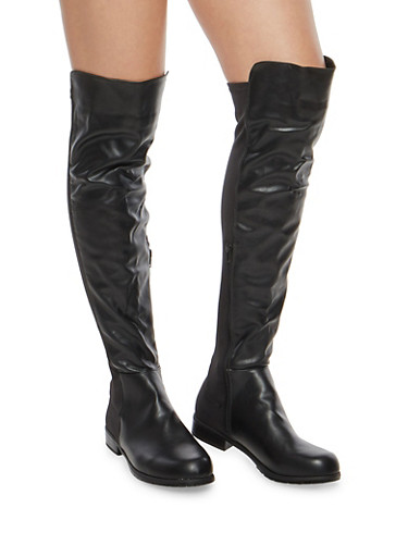 Over The Knee Boots with Side Zipper,BLACK PU,large