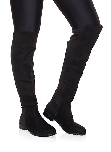 Over the Knee Stretch Panel Boots,BLACK SUEDE,large