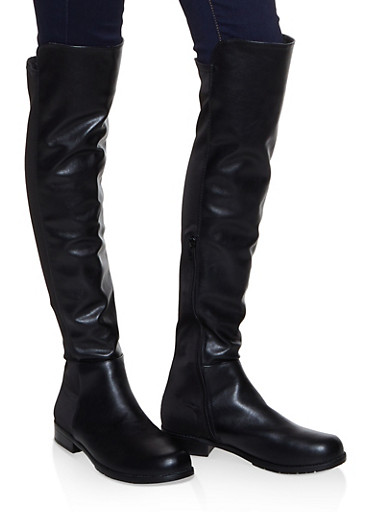 Over the Knee Stretch Panel Boots,BLACK,large