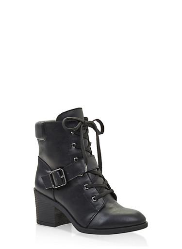 Mid Heel Combat Boots,BLACK,large
