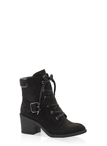 Mid Heel Combat Boots,BLACK SUEDE,large