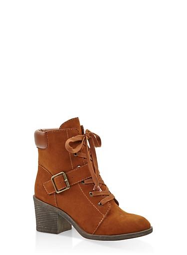 Mid Heel Combat Boots,CHESTNUT,large