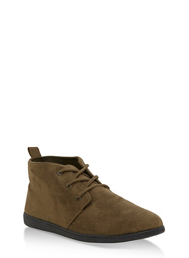 Lace Up Faux Suede Desert Booties,OLIVE F/S,large