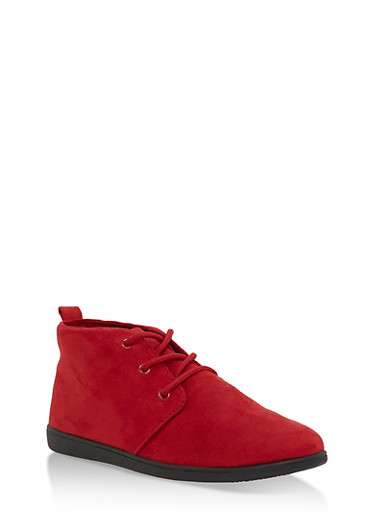 Lace Up Faux Suede Desert Booties,RED F/S,large
