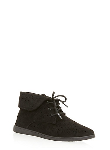 Fold Over Lasercut Desert Boots,BLACK F/S,large
