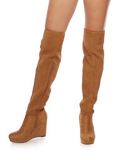Over the Knee Wedge Boots with Ribbed Detail,TAN F/S,large