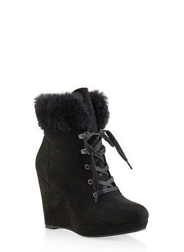Faux Fur Cuff Wedge Booties,BLACK SUEDE,large