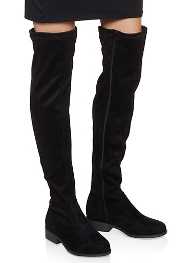 Side Zip Over the Knee Boots | 3116004066697,BLACK SUEDE,large
