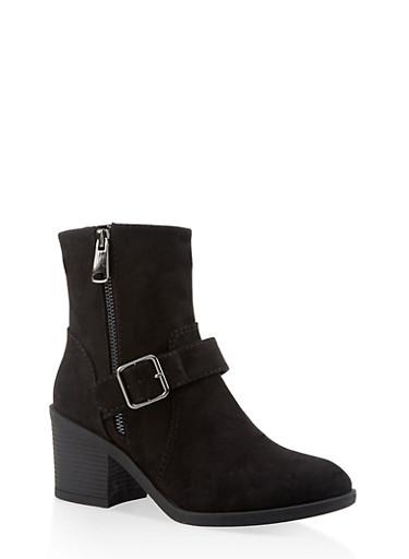 Buckle Mid Heel Booties,BLACK SUEDE,large