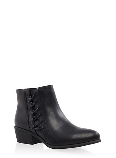 Lace Up Side Zip Booties,BLACK,large