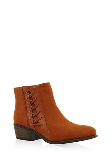 Lace Up Side Zip Booties,CHESTNUT,large