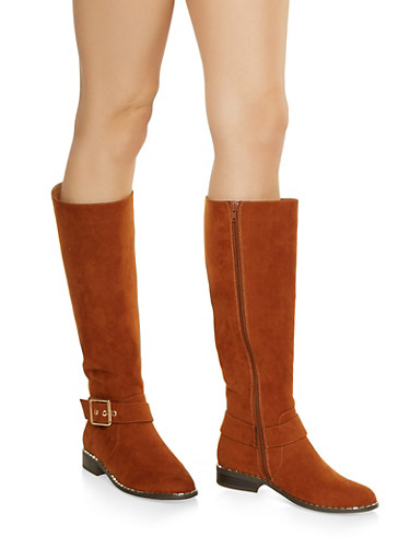 Studded Sole Boots,CHESTNUT,large