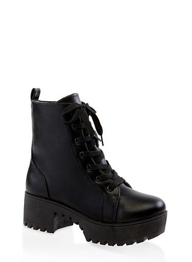 Lace Up Platform Combat Boots | 3116004067640,BLACK,large