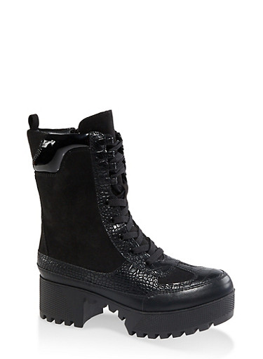 Platform Lace Up Combat Boots,BLACK SUEDE,large