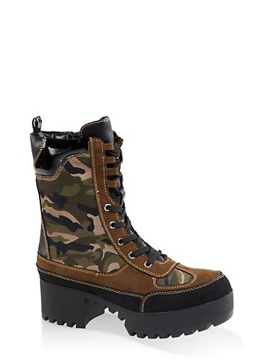Platform Lace Up Combat Boots,CAMOUFLAGE,large