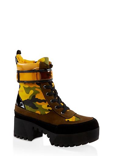 Velcro Strap Detail Platform Boots,YELLOW,large