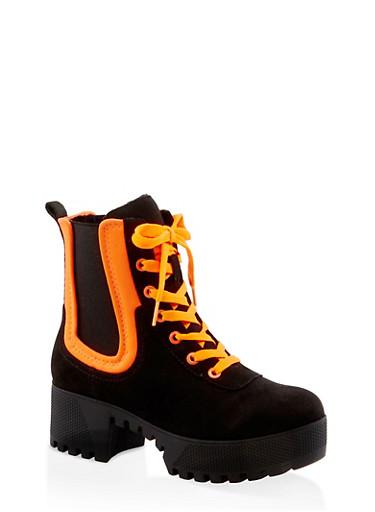Contrast Trim Platform Boots,NEON ORANGE,large