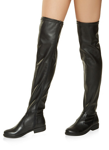 Over the Knee Zip Boots,BLACK,large