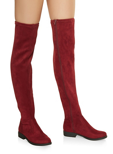 Over the Knee Zip Boots,WINE,large