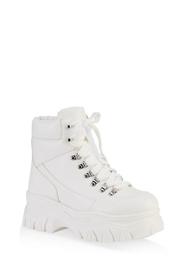 Chunky Lace Up Booties,WHITE,large