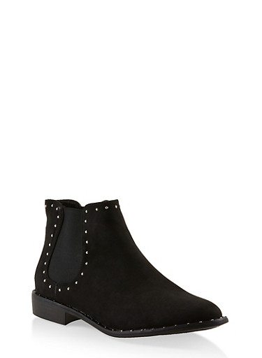 Studded Ankle Booties,BLACK SUEDE,large