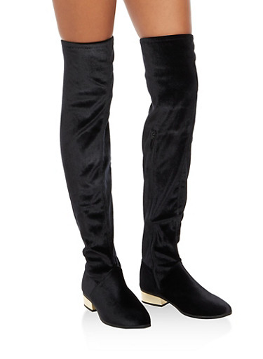 Over the Knee Boots with Mirror Metallic Heel,BLACK VELVET,large