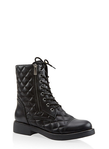 Quilted Combat Boots,BLACK,large