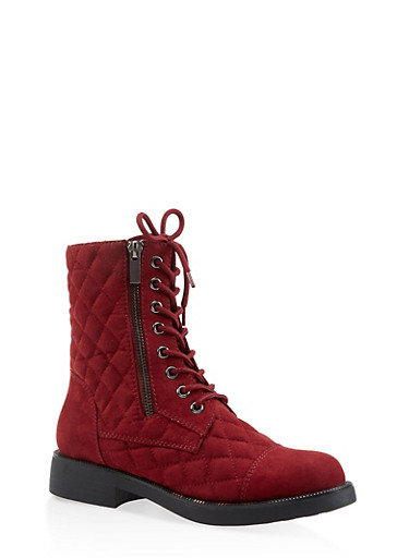 Quilted Combat Boots,WINE,large