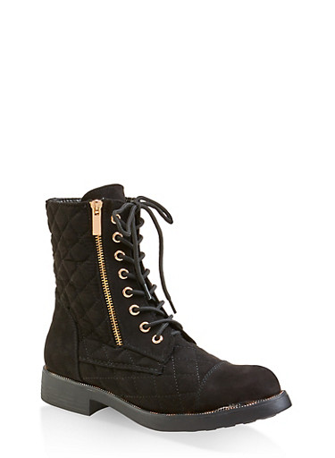Quilted Combat Boots,BLACK SUEDE,large
