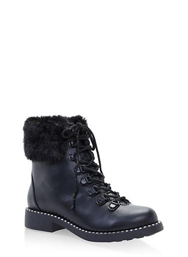 Faux Fur Cuff Lace Up Combat Boots,BLACK,large