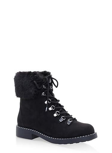 Faux Fur Cuff Lace Up Combat Boots,BLACK SUEDE,large