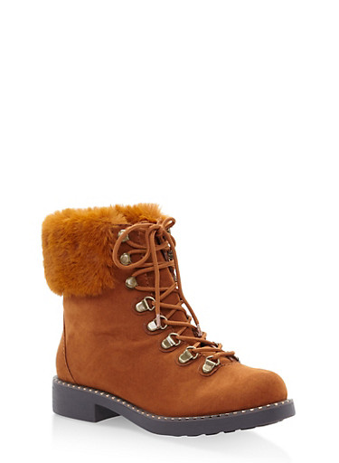 Faux Fur Cuff Lace Up Combat Boots,CHESTNUT,large