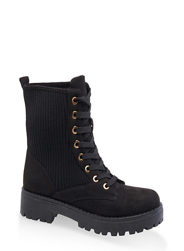 Ribbed Lace Up Combat Boots,BLACK SUEDE,large