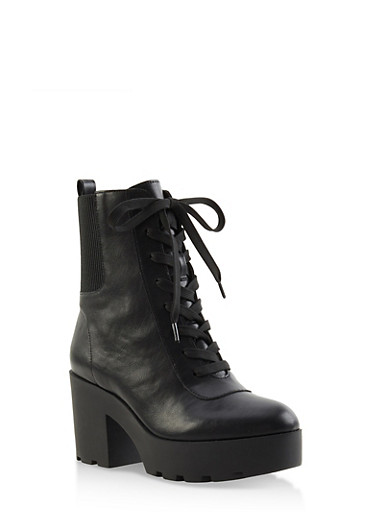Platform Lug Sole Booties,BLACK,large