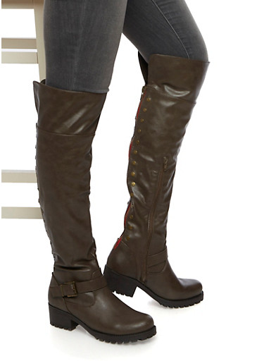 Over The Knee Boots with Flat Stud Accents,TAUPE,large