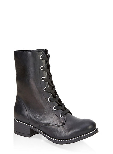 Studded Sole Combat Boots,BLACK,large