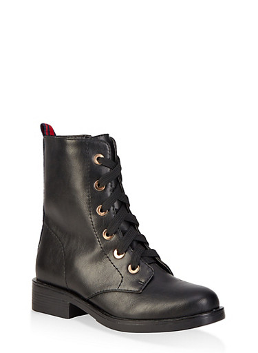 Striped Tape Detail Combat Boots,BLACK,large