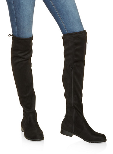 Faux Suede Over the Knee Boots,BLACK SUEDE,large