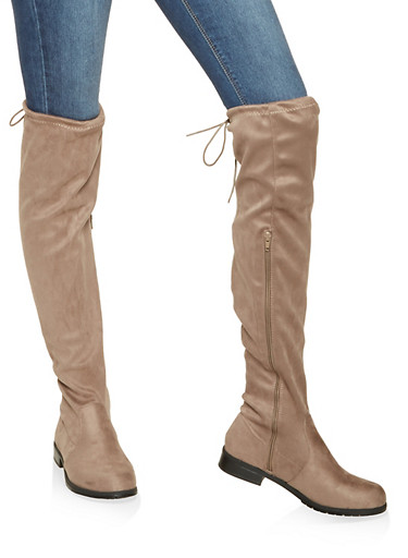 Faux Suede Over the Knee Boots,TAUPE,large