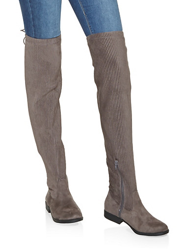 Ribbed Lace Up Over the Knee Boots,GRAY,large