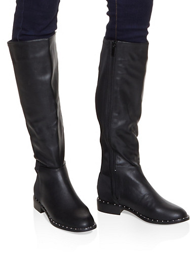 Tall Studded Sole Boots,BLACK,large